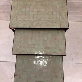 Juego de 3 Mesitas mosaico artesanales