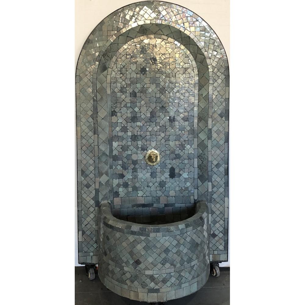 Fuente de mosaicos artesanales árabes marroquí 1,24x67x29