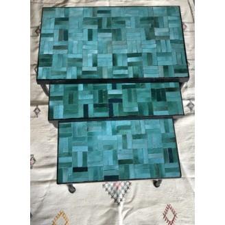 juego de mesas de mosaico 50x30x50alto +45x30x45alto +40x30x40alto