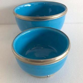 Juego de 2 Tasas de cerámica con el bordes de metal
